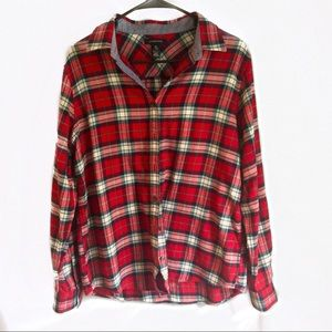 Land's End Women's Gala Red Plaid Flannel Shirt